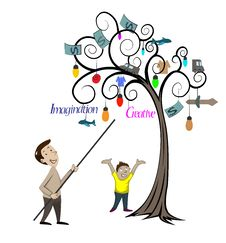 Free Man And Child Looking At The Tree Royalty Free Stock Photo - 35920515