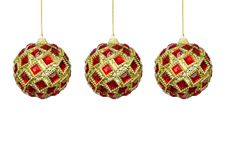 Free Toys For The Christmas Tree, Red-yellow Balls On A White Backgro Stock Photo - 35921180