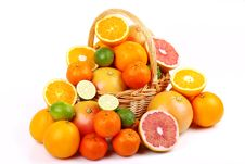 Free Mixed Citrus Fruit In Wicker Basket Royalty Free Stock Photo - 35922865