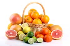 Free Mixed Citrus Fruit In Wicker Basket Stock Photos - 35922913