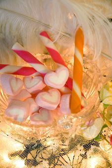 Pink Heart Marshmallow Stock Image