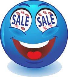 Free Blue Smiley SALE Stock Photography - 35929112