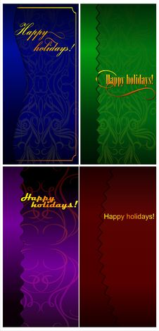 Free A Set Of Four Cards Happy Holidays! 01 (vector) Royalty Free Stock Photos - 35930628