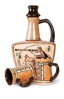 Free Ancient Wine Jug And Ceramic Mugs Royalty Free Stock Photos - 35931058