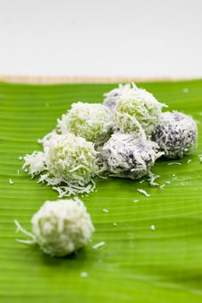 Thai Dessert Sweet Boiled Ball , Roll Over The Grated Coconut Royalty Free Stock Photo
