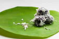 Thai Dessert Sweet Boiled Ball , Roll Over The Grated Coconut Stock Photography