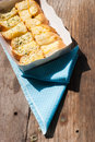 Free Fresh-baked Garlic Bread With Herbs, On White Bread Tray Stock Image - 35940051