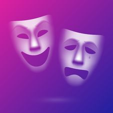 Free Comedy And Tragedy Theatrical Masks Stock Photos - 35942913