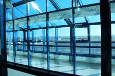 Free Blue Window Frame In Airport Stock Photography - 35945092