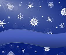 Free Snowflakes Background And Banner For Text Royalty Free Stock Photo - 35945765