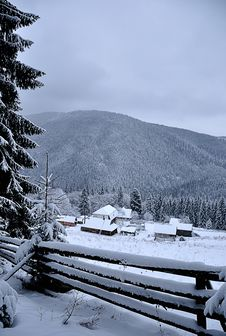Beautiful Winter Day In Mountains Stock Photo