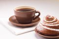 Free Continental Breakfast With Hot Tea And Sweet Bun Royalty Free Stock Image - 35953796