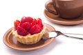 Free Strawberry Dessert With Cup Of Hot Tea Stock Photos - 35953823