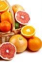 Free Mixed Citrus Fruit In Wicker Basket Stock Photos - 35954273