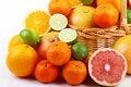Free Mixed Citrus Fruit In Wicker Basket Stock Photo - 35954420