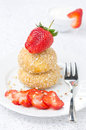 Free Cheese Pancakes With Fresh Strawberries On A Plate And Yogurt Stock Photos - 35959813