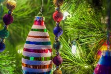 Christmas Ornaments On A Tree Royalty Free Stock Photography