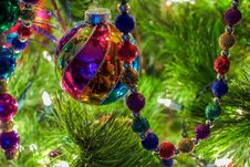 Christmas Ornaments On A Tree Royalty Free Stock Photos