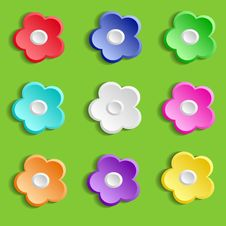 Free Set Of Paper Flowers On Green Background Royalty Free Stock Photography - 35950287