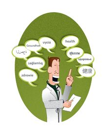 Free Doctor And Text Balloons Saying Health &x28;multilingu Royalty Free Stock Photography - 35953687
