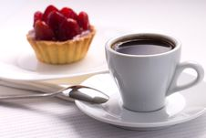 Free Whie Cup Of Black Coffee With Strawberry Dessert Royalty Free Stock Photo - 35953765