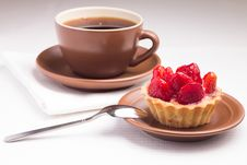 Free Strawberry Dessert With Cup Of Hot Tea Stock Photo - 35953820