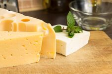 Various Type Of Cheese On Wooden Board Stock Photography