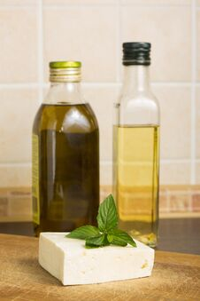 White Cheese With Kinds Of Oil Stock Image