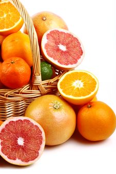 Free Mixed Citrus Fruit In Wicker Basket Stock Photos - 35954273