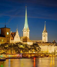 Free Zurich, Switzerland, Summertime Evening Royalty Free Stock Photography - 35956327