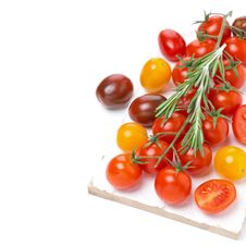 Free Colorful Cherry Tomatoes And Rosemary On A White Wooden Board Royalty Free Stock Photography - 35959897