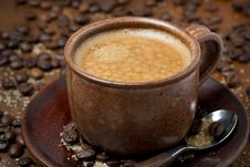 Free Cup Of Black Coffee With Foam, Selective Focus Royalty Free Stock Photo - 35959955