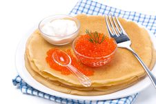 Delicious Crepes With Red Caviar, Dill And Sour Cream, Isolated Royalty Free Stock Image