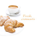 Free Fresh Croissants And Cup Of Coffee, Isolated Stock Photography - 35960042