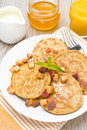 Free Pancakes With Peaches And Honey For Breakfast, Top View Royalty Free Stock Photo - 35960085