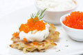 Free Potato Pancakes With Red Caviar And Sour Cream, Close-up Stock Photo - 35960110