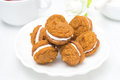 Free Pumpkin Cookies With Cream Filling On A White Plate Stock Photos - 35960113