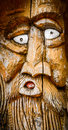 Free Face Carved Into Wood Stock Photo - 35967340