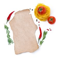 Free Pasta, Tomatoes, Spices And A Piece Of Paper To Write The Recipe Stock Photo - 35960090
