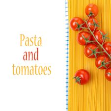 Spaghetti And Cherry Tomatoes On A Napkin, Isolated Stock Photo