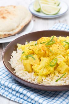 Vegetable Curry With Cauliflower And Rice, Close-up Stock Photography