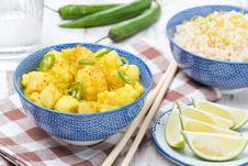 Free Vegetable Curry With Lime And Mint In A Bowl Stock Images - 35960264