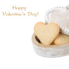 Wooden Box With Cookies In The Form Of Heart, Isolated On White Royalty Free Stock Images