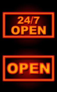 Free 24 7 Open Neon Black Background Royalty Free Stock Photos - 35960558