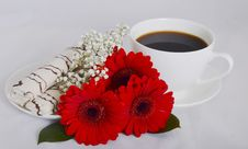 Free Cup Of Coffee, Cookies And Flowers Stock Images - 35962124