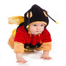 Little Girl Is Creeping And Dressed As A Bee Royalty Free Stock Image