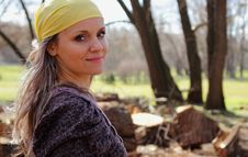 Free Beautiful Girl With A Scarf On Her Head On A Background Of Nature Stock Images - 35967734