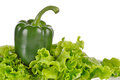 Free Green Pepper And Salad Leaf Isolated On White Royalty Free Stock Images - 35971459