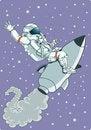 Free Astronauts Riding Rocket Stock Image - 35979771