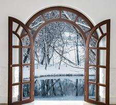 Open Door And A Winter Forest Royalty Free Stock Images
